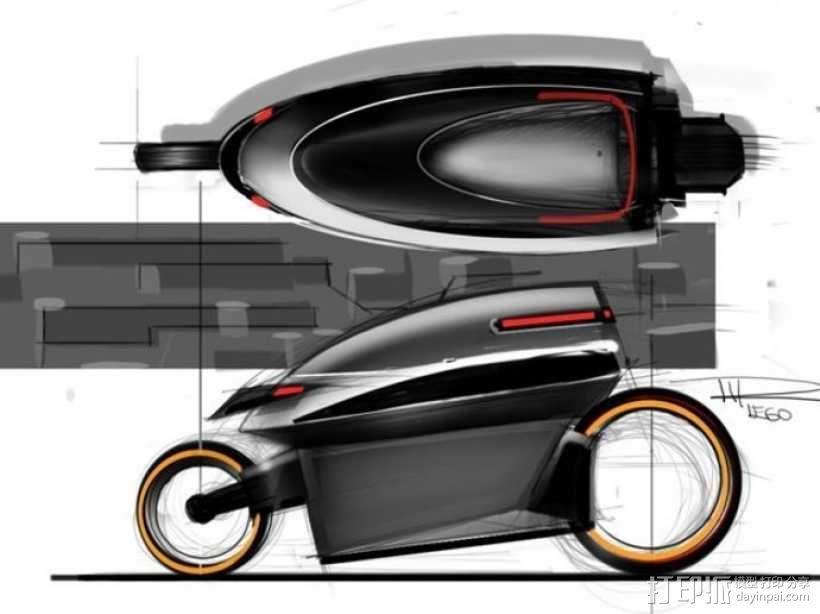 智能摩托 3D模型  图2