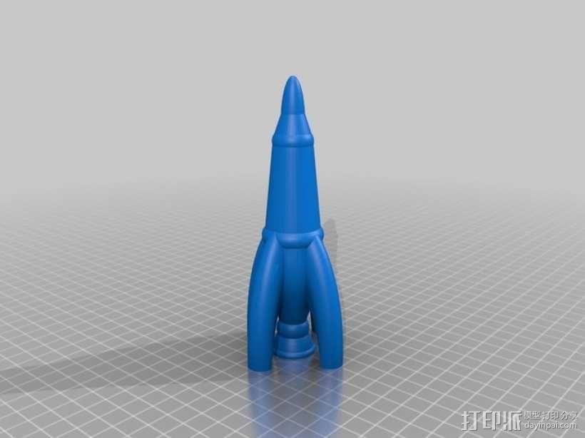 Retro 002火箭  3D模型  图1