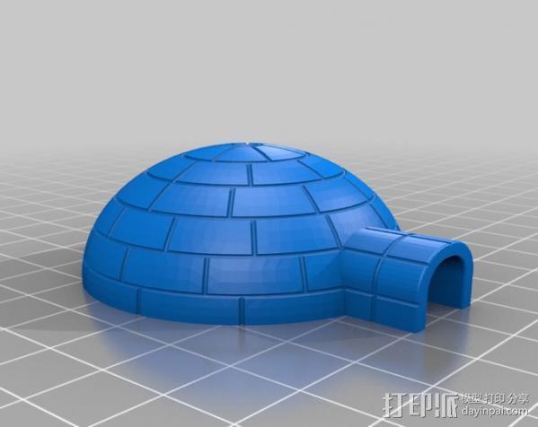 冰屋和雪橇 3D模型  图2