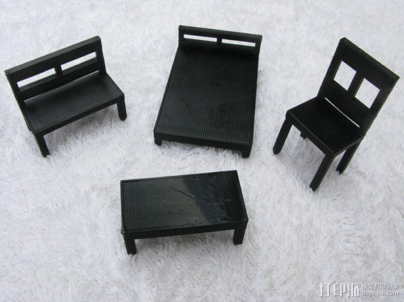 桌椅 桌子和椅子 3D模型  图1