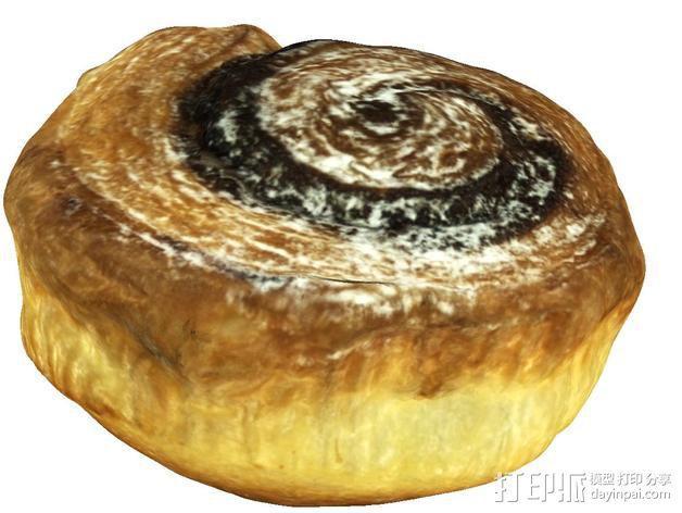 卡布奇诺咖啡卷面包 3D模型  图3