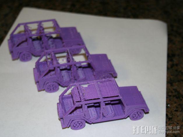 四门软顶牧马人吉普车模型 3D模型  图3