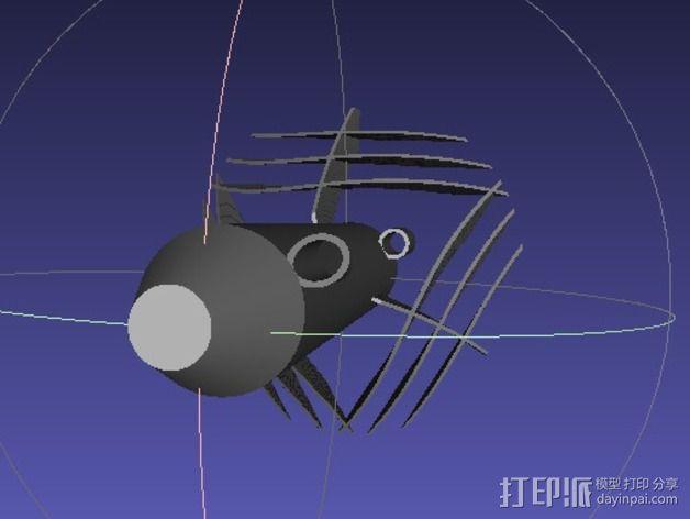 弧形鳍火箭 3D模型  图1