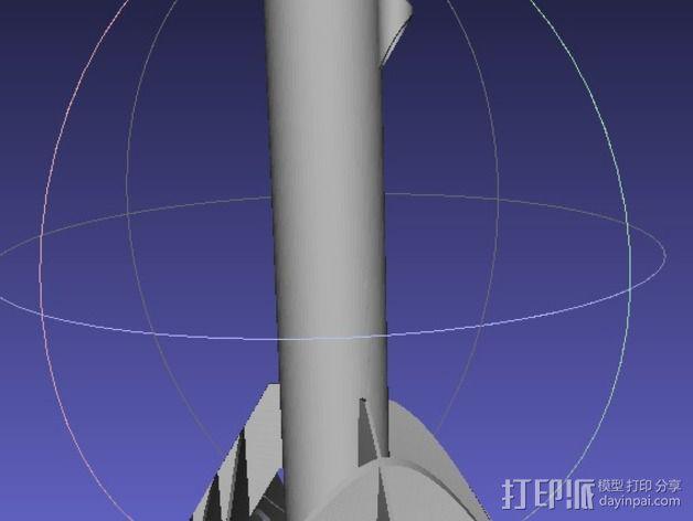 弧形鳍火箭 3D模型  图2
