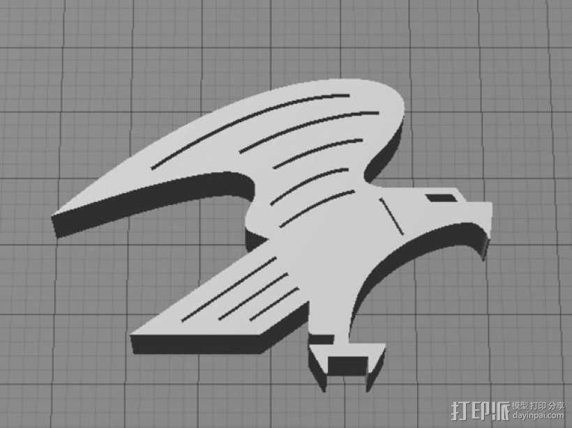 美国秃鹰 标志 3D模型  图1