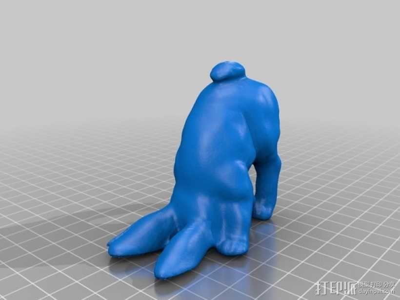 倒立的兔子 3D模型  图1