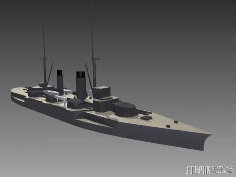 IJN Satsuma 1910战舰 3D模型  图1