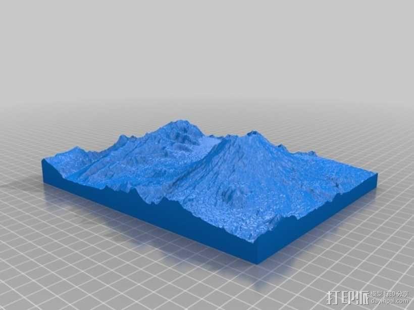 圣海伦火山地形模型 3D模型  图1