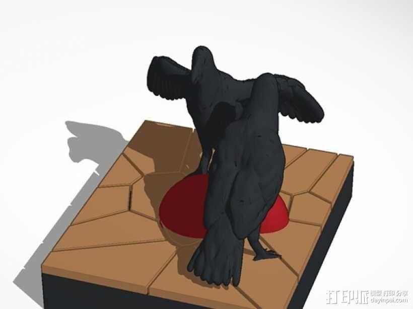 觅食的乌鸦 3D模型  图1
