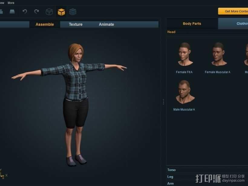 Mixamo Fuse女孩模型 3D模型  图1