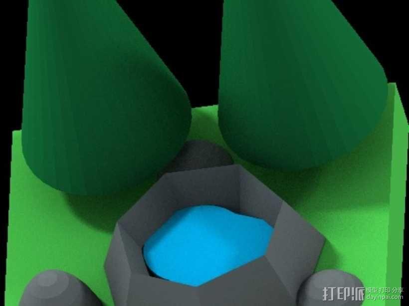 花园中的池塘 3D模型  图1
