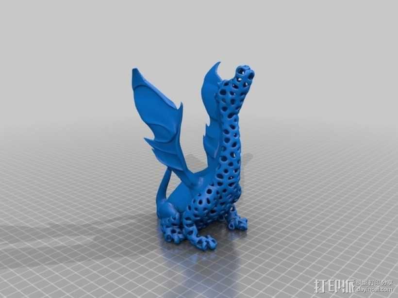 泰森多边形唱歌的火龙 3D模型  图1