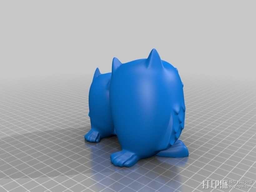 依偎的猫头鹰  3D模型  图1