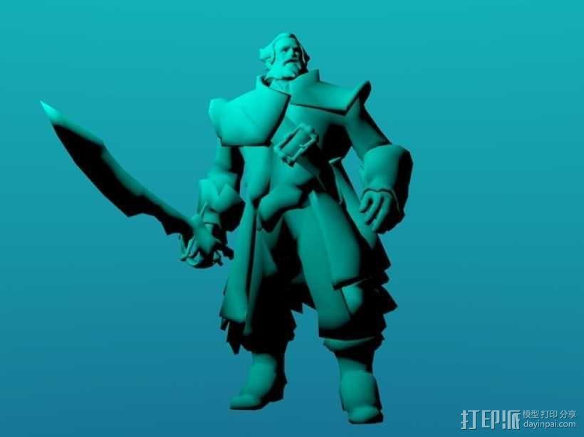 刀塔传奇Kunkka船长 3D模型  图1
