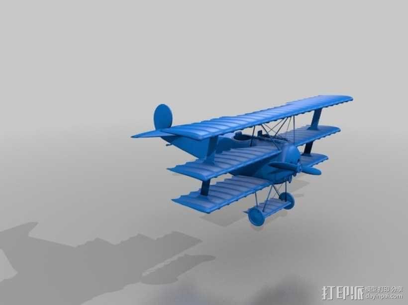 Fokker Dr.I福克单座三翼战斗机 3D模型  图2