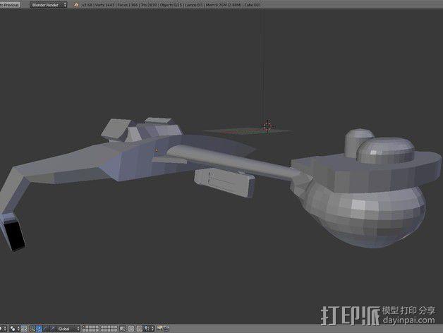 Klingon D7星际巡洋舰 3D模型  图1