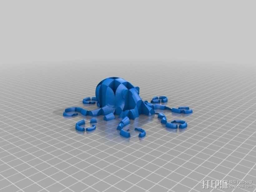 格纹双色章鱼 3D模型  图2