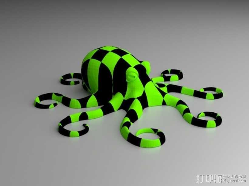 格纹双色章鱼 3D模型  图1