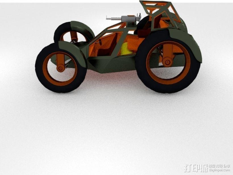 攻击性载具 双轮车 3D模型  图1