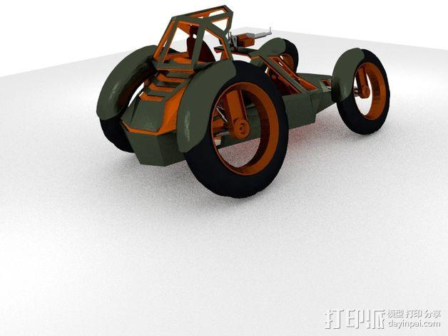 攻击性载具 双轮车 3D模型  图4