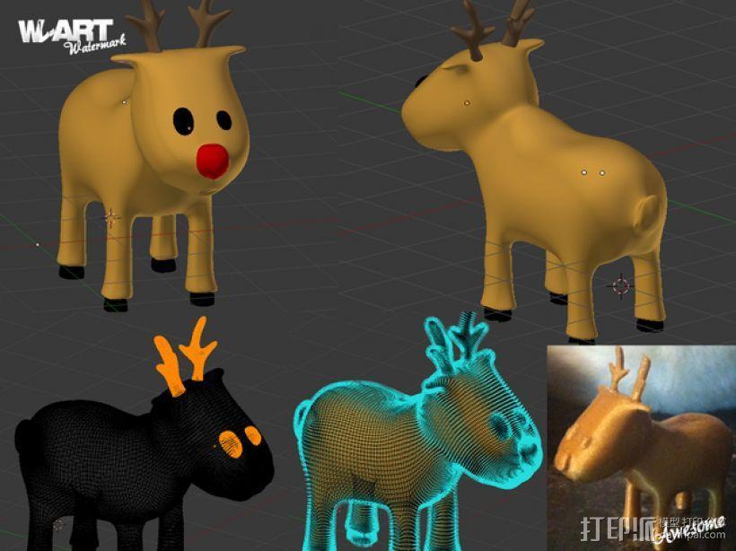 卡通驯鹿 3D模型  图1