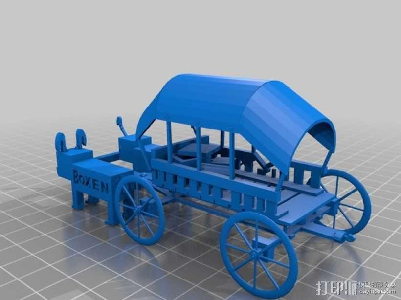 篷车 有蓬式大马车 3D模型  图1
