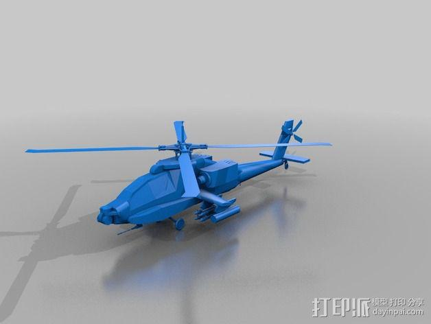 Apache AH64-D 直升机 3D模型  图2