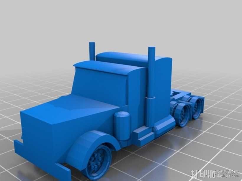 彼得比尔特卡车 3D模型  图1