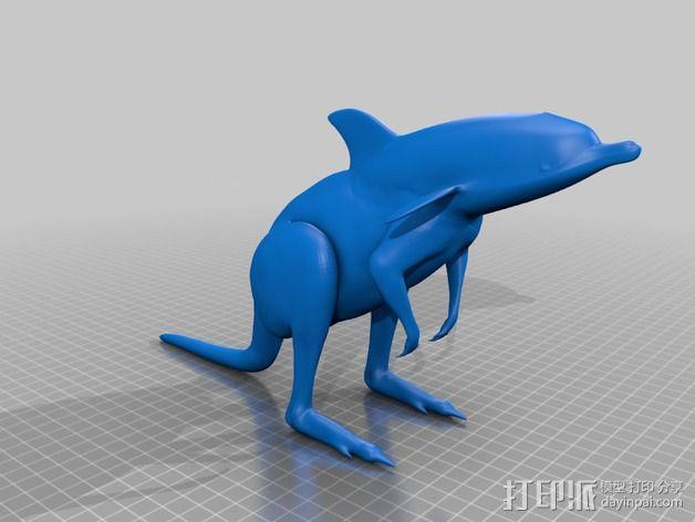 袋鼠海豚 3D模型  图1