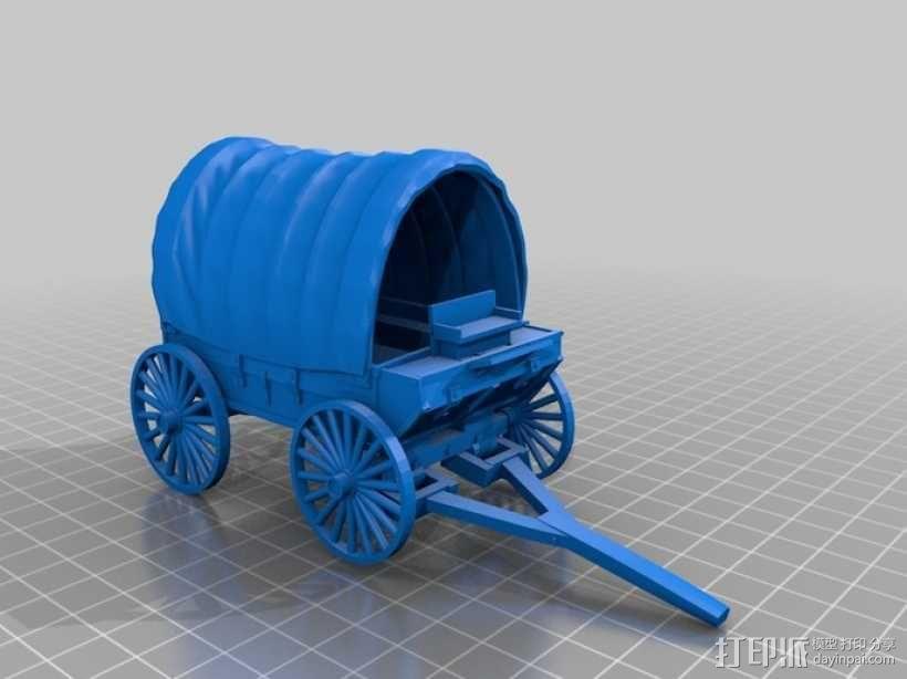 火车 四轮马车 3D模型  图1