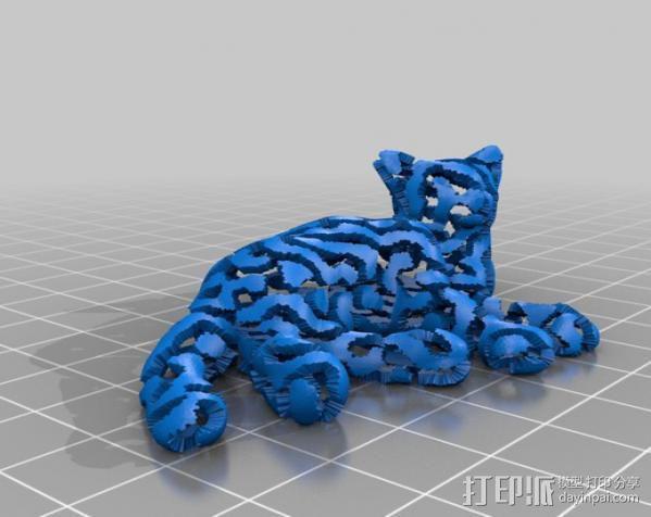 双色笑脸猫 3D模型  图2