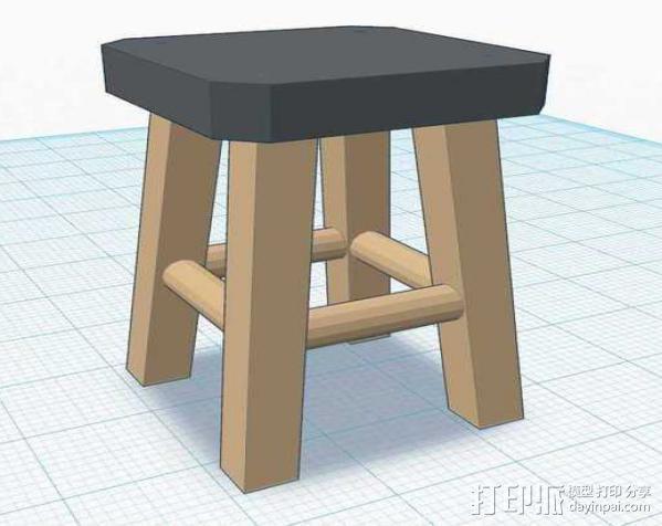 高脚凳 3D模型  图1