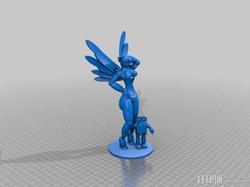 机器人女孩 3D模型  图1