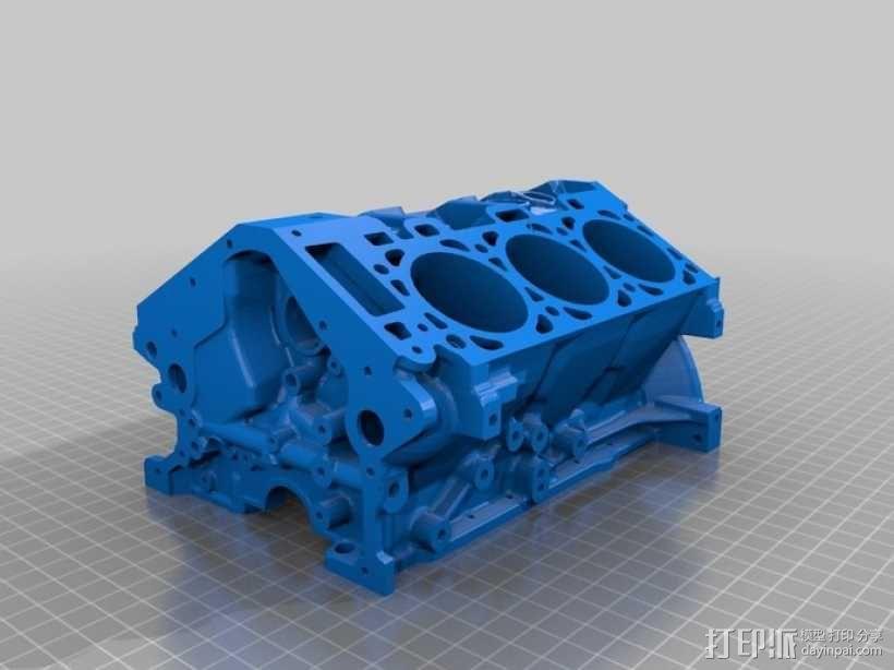 福特发动机缸体 3D模型  图1