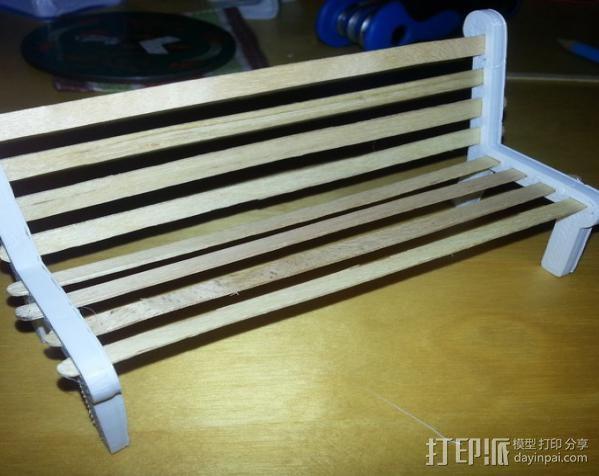 公园长椅 3D模型  图3