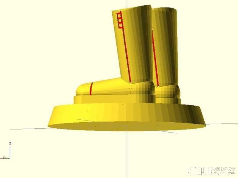 迷你靴子 3D模型  图1