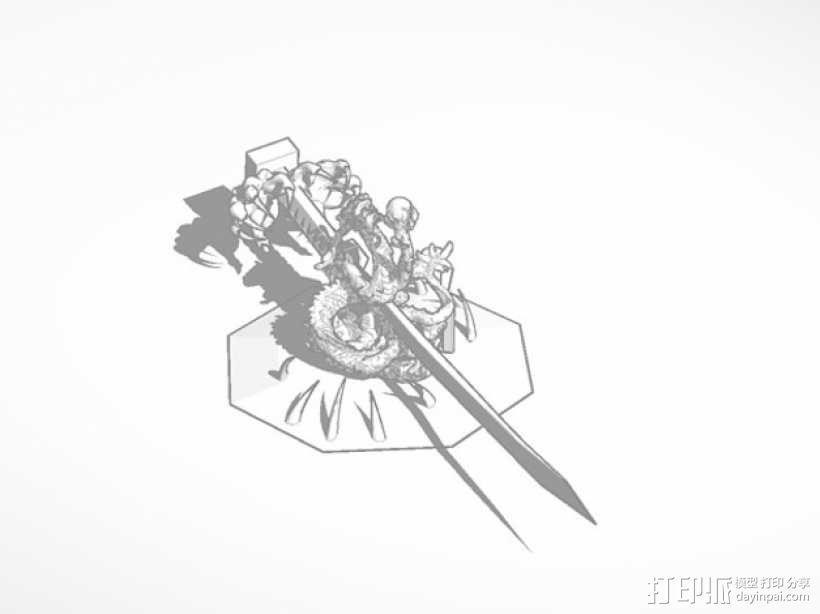 龙饰武士刀 3D模型  图1