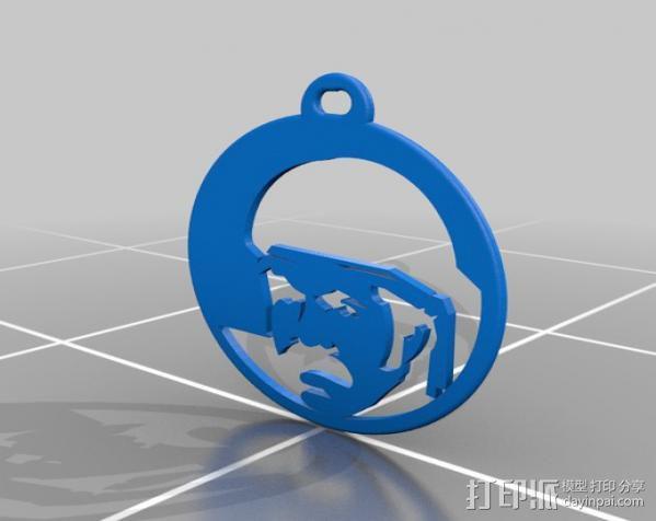 黑色炸药 头像钥匙链 3D模型  图2
