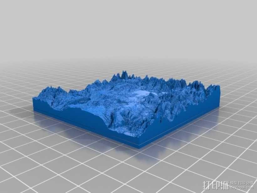 黄石公园超级火山地形模型 3D模型  图2