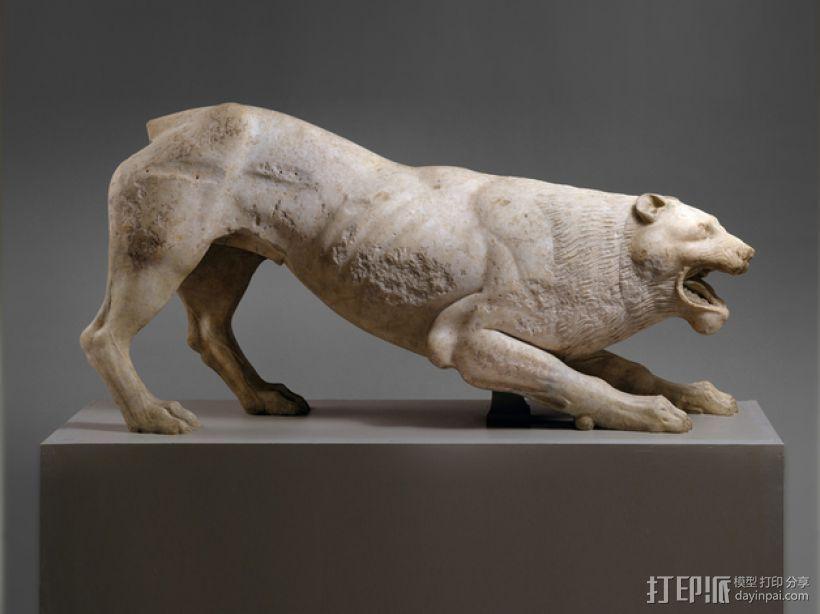 狮子大理石雕塑  3D模型  图1