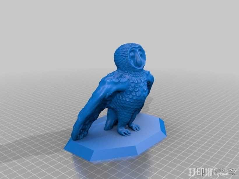 仓鸮 谷仓猫头鹰 3D模型  图5