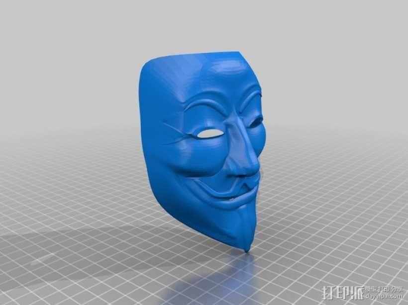 Guy Fawkes盖伊福克斯的面具 3D模型  图1