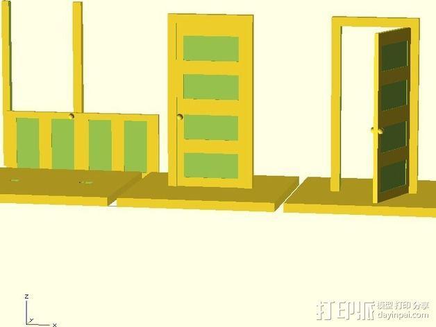 门 门框 3D模型  图1