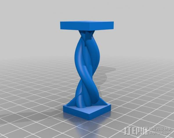 双色螺旋柱 3D模型  图1