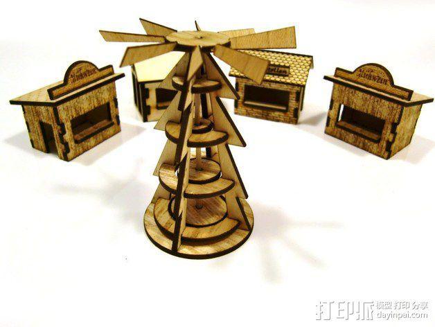 激光切割圣诞小屋 3D模型  图3