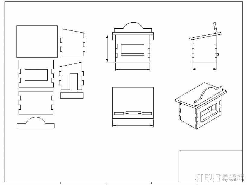 激光切割圣诞小屋 3D模型  图5