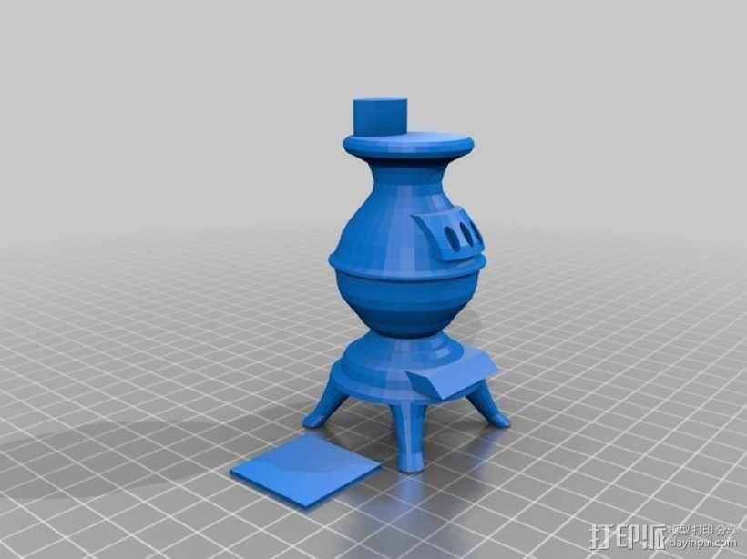 木材炉 柴火炉 3D模型  图1