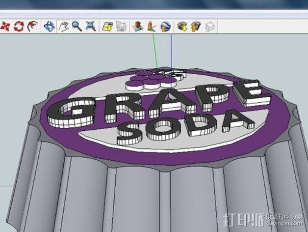 葡萄味苏打水瓶盖 3D模型  图2