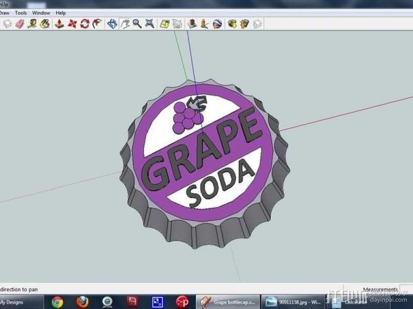 葡萄味苏打水瓶盖 3D模型  图1