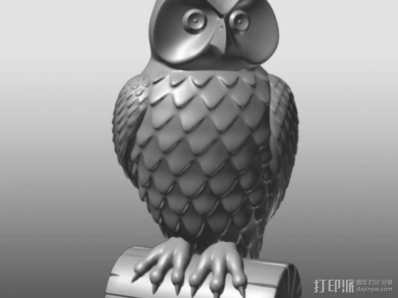 猫头鹰雕像 3D模型  图1